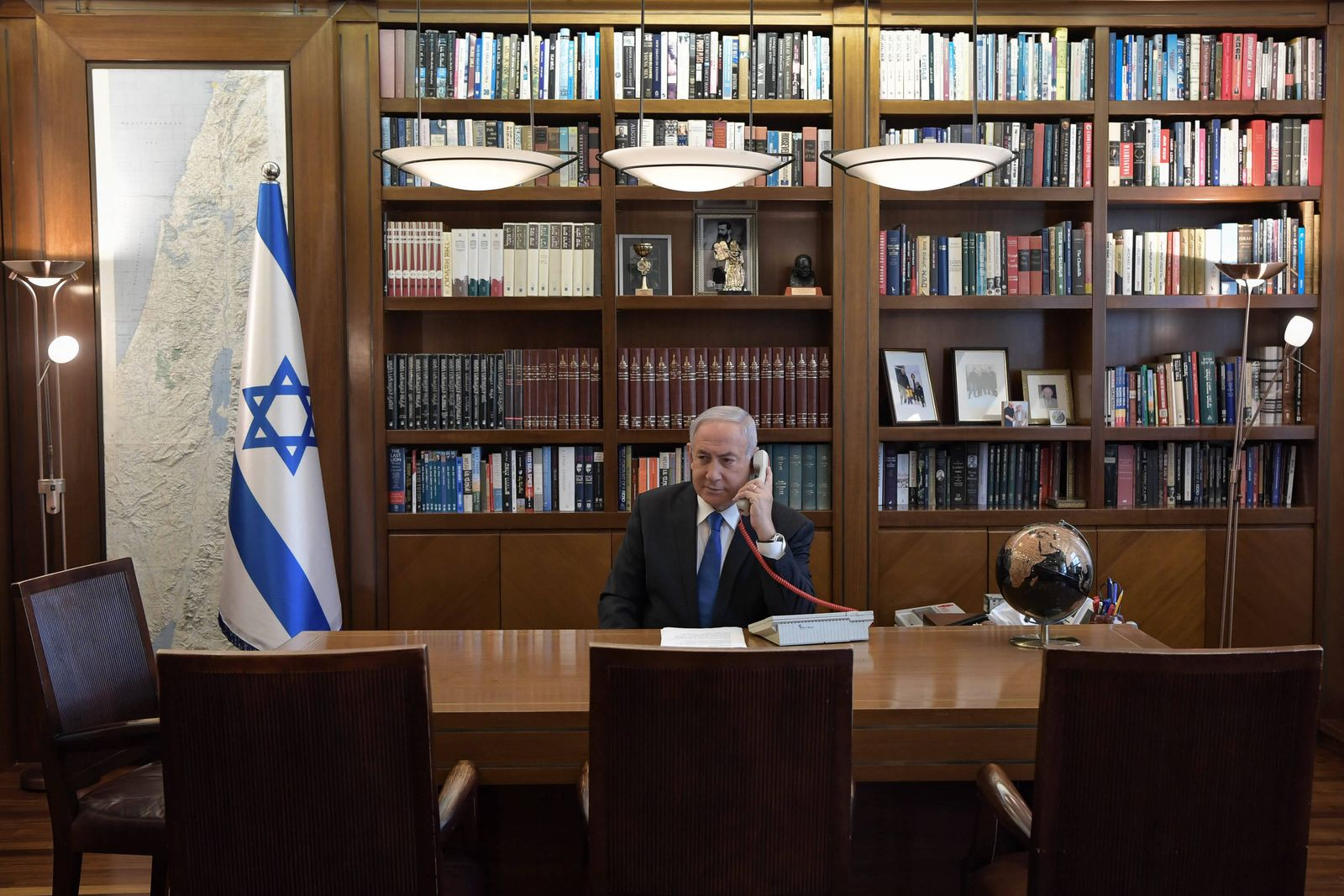 August 13, 2020, Jerusalem, Israel: Prime Minister Benjamin Netanyahu holds a conference call from his office with US P