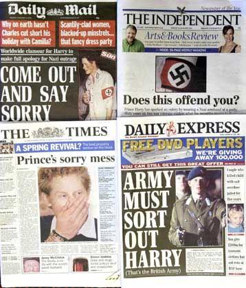 Mediale Empörung: Den meisten britischen Tageszeitungen beschäftigten sich auf ihrer Titelseite mit dem dümmlich kostümierten Prinzen