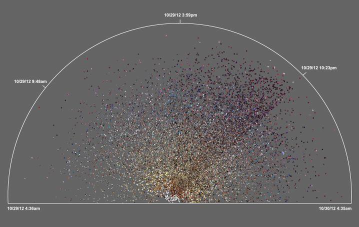 Fotos aus Brooklyn: Die Grafik zeigt Aufnahmen vom 29. und 30.11.2012