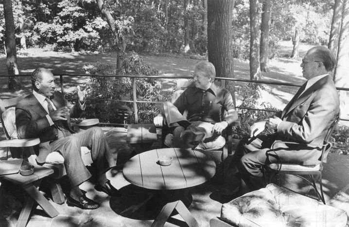 Landsitz-Gipfel: Anwar Sadat, Jimmy Carter und Menachem Begin 1978 in Camp David