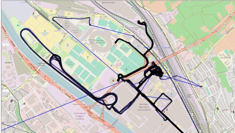 Fahrtstrecke der Transporters auf dem Daimler-Werkgelände: Diskrete Prüfung des Vehikels