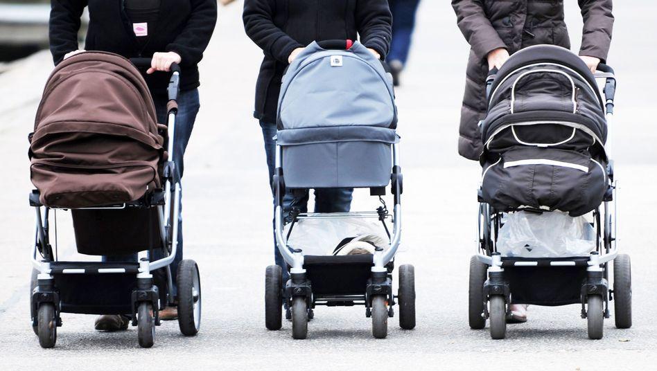 Frauen mit Kinderwagen: Ökonomen bereitet die niedrige Geburtenrate Sorgen