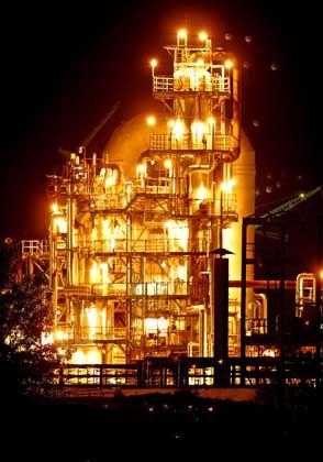 An oil refinery near the Druzhba oil pipeline in the Belarusian town of Mozyr, 350 km south-east of Minsk.