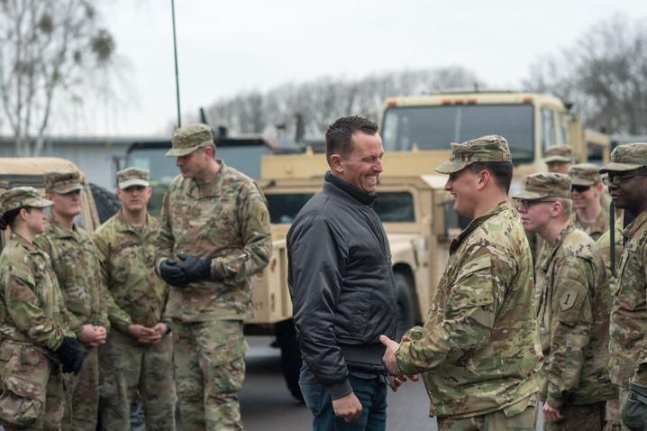 U.S. Ambassador to Germany Richard Grenell speaks with American soldiers at a base in the eastern state of Saxony-Anhalt.