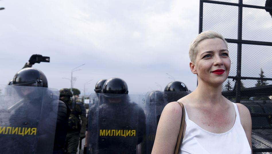 Marija Kolesnikowa am 30. August in Minsk bei Protesten