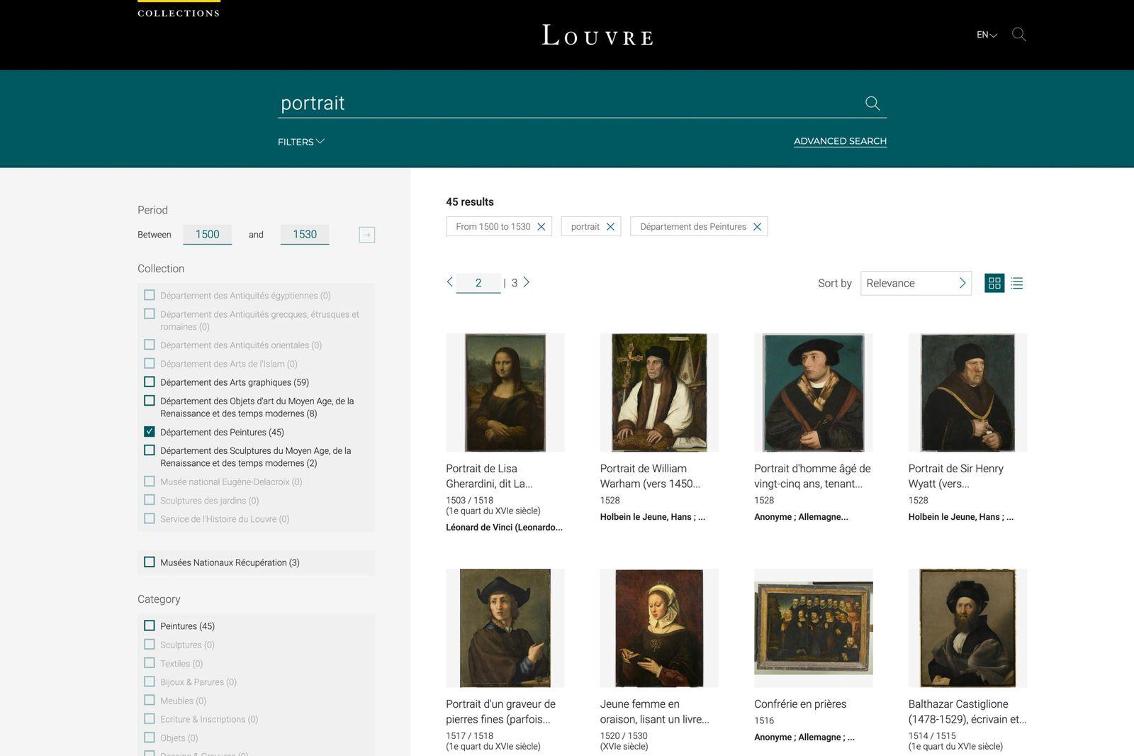 Louvre Datenbank SCREENSHOT