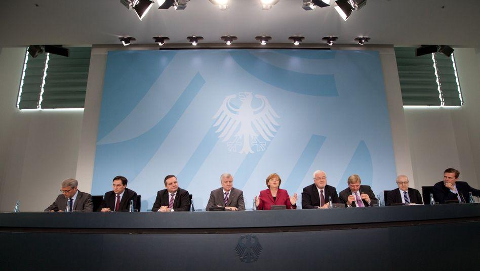 """Kanzlerin Merkel mit Ministern und Regierungschefs: """"Nachhaltig in Frage gestellt"""""""
