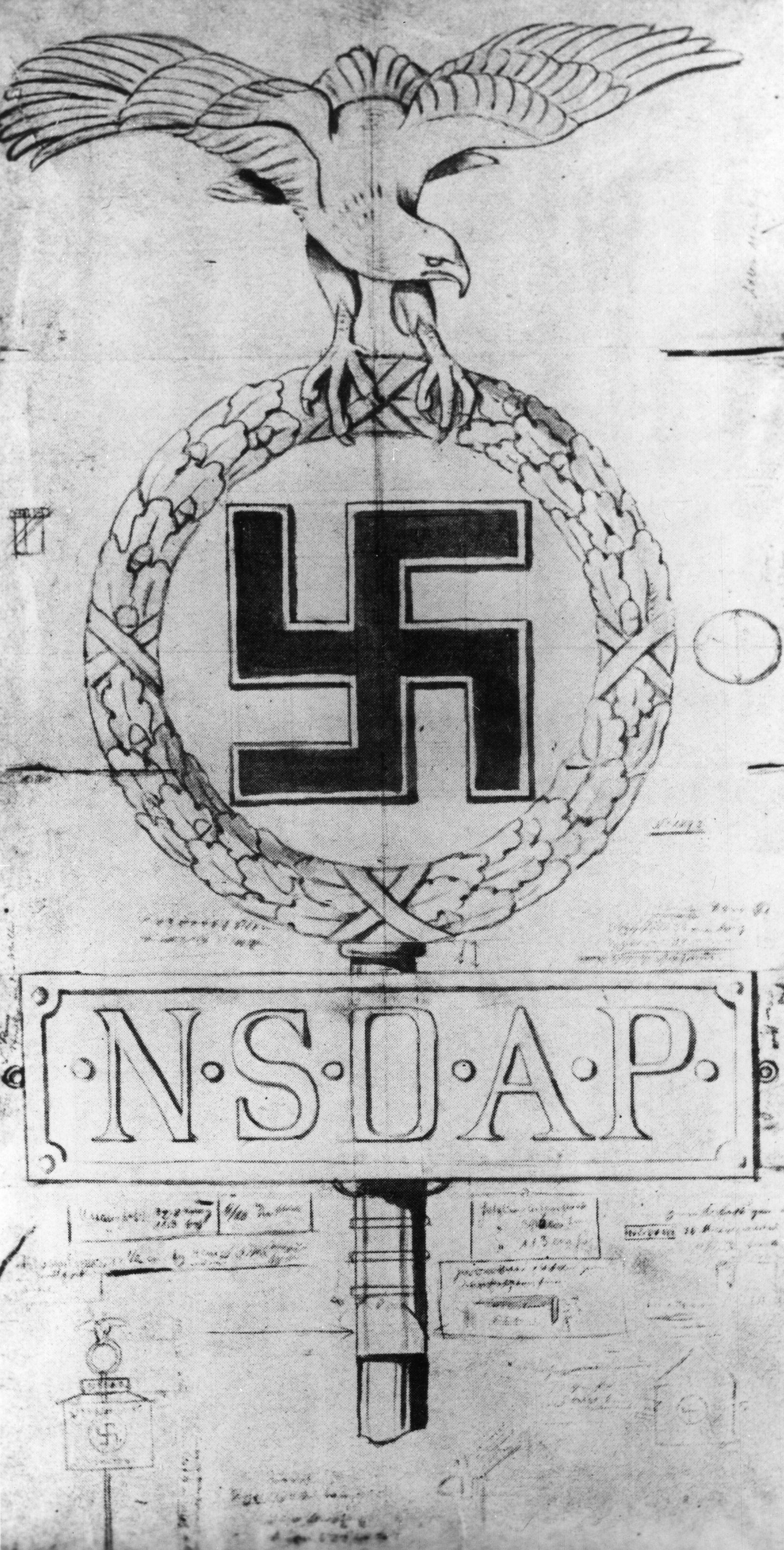 1. Zeichnung für die Standarten der NSDAP