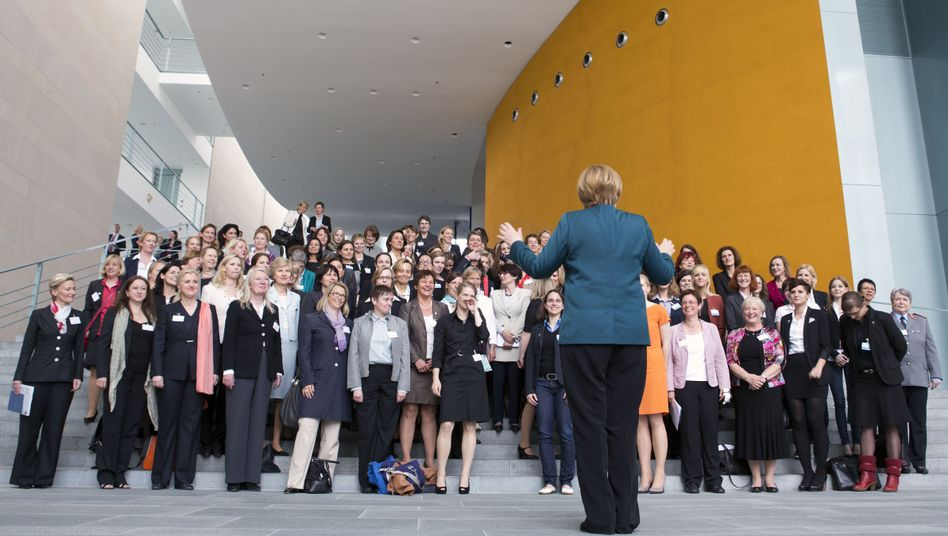 Chancellor Angela Merkel appeared in May at a meeting of women in leadership positions in Germany.
