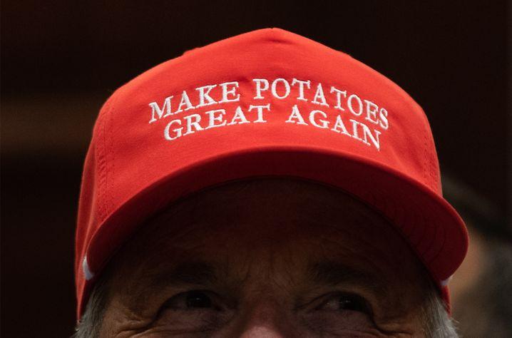 US-Farmer mit einer Botschaft