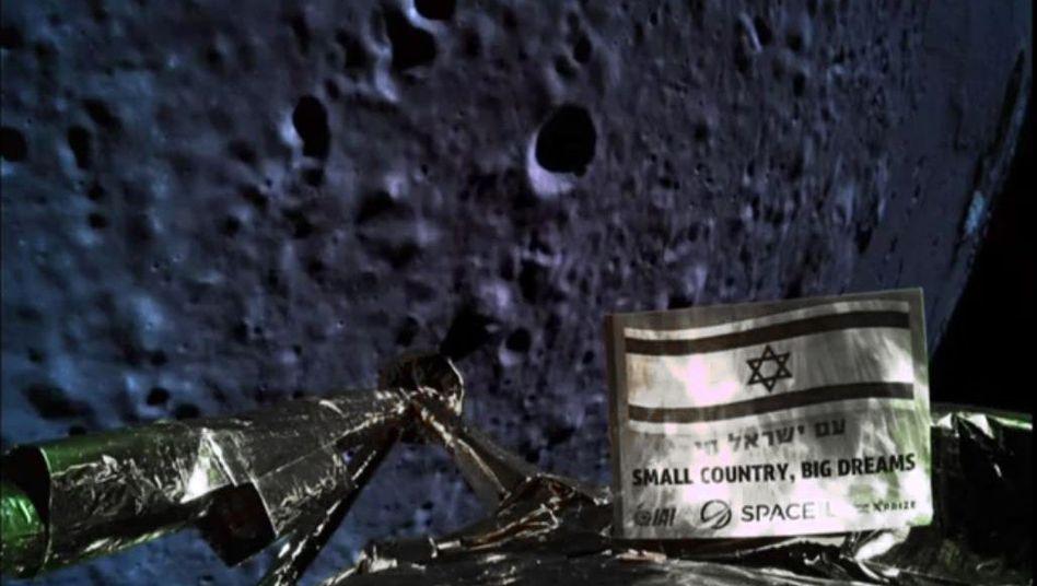 """Foto der Raumsonde """"Bereschit"""" von der Mondoberfläche"""