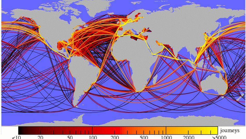 Weltweite Schifffahrtsrouten: Die gelben Strecken werden am häufigsten befahren