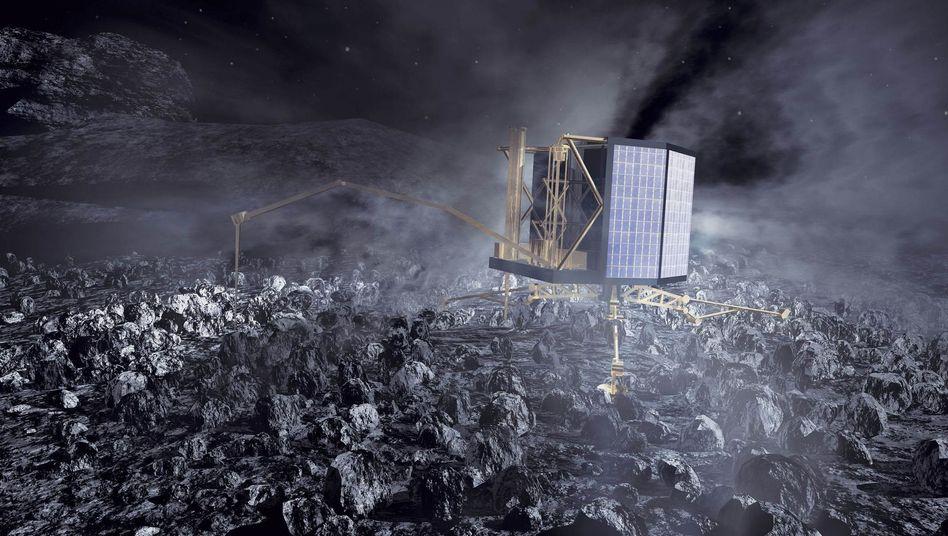 Landeroboter auf Kometen Tschuri (Illustration): Sieben Monate im Kälteschlaf