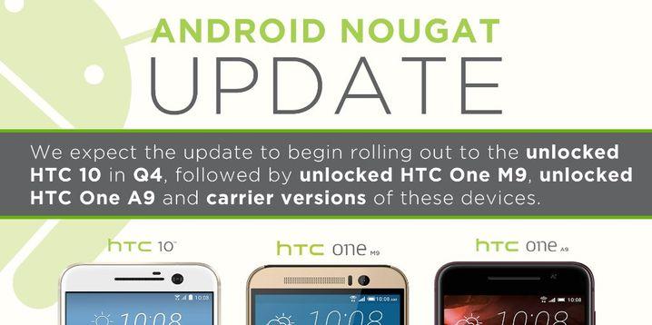 Für HTC 10 und Co. ist das Update mitsamt grobem Release-Rahmen schon angekündigt worden.