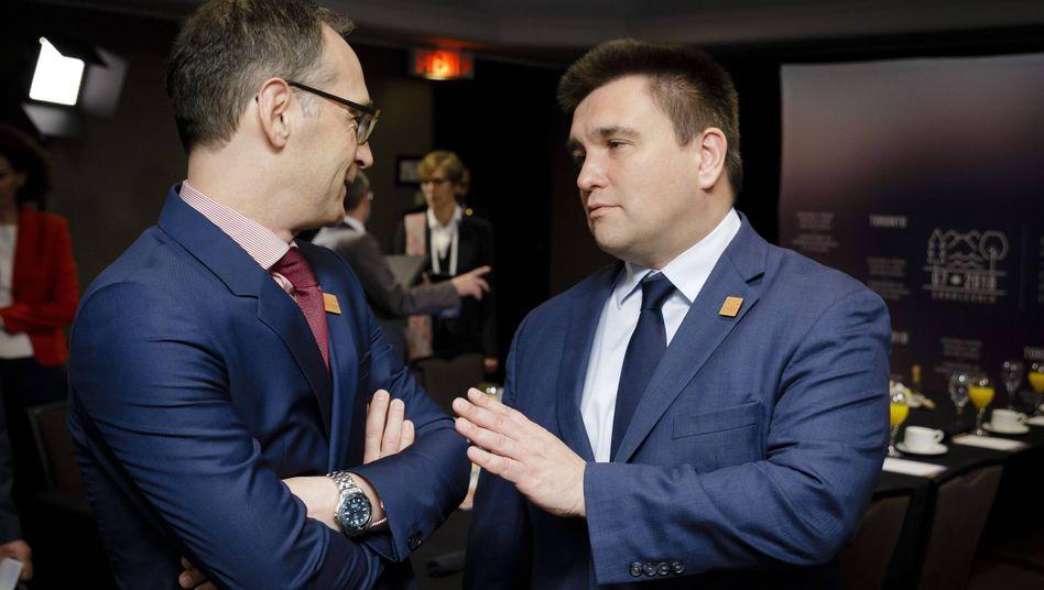 Heiko Maas mit dem ukrainischen Außenminister Pawlo Klimkin.