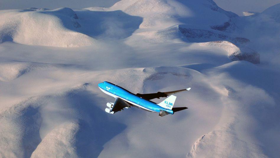 Boeing B747-400 im Flug über Grönland