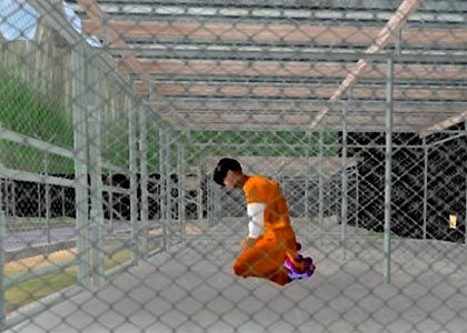 """A screenshot of the """"Gone Gitmo"""" game on Second Life: a continuation of the teach-in using new media."""