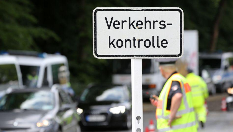 Kontrollstelle zur Überprüfung des Dieselfahrverbots in Hamburg (Symbolbild)