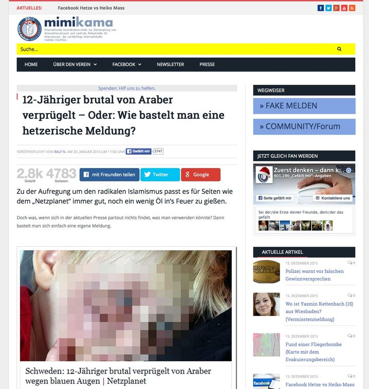 A screenshot of a posting about a 12 year old boy allegedly beaten by Arabs. But the picture has been used before in connection with other stories, such as that of a boy being attacked by a Rottweiler.