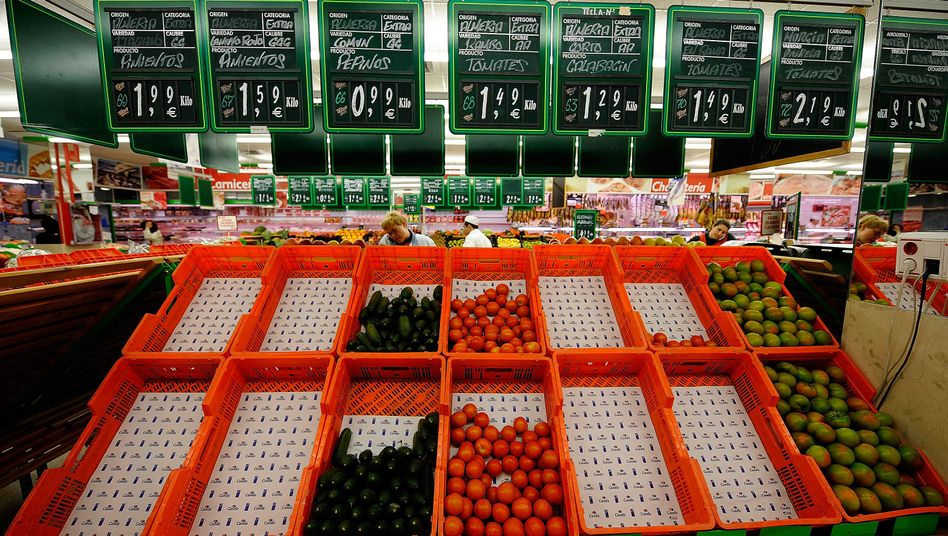 Supermarkt in Madrid: Der Kurs des Euro fiel nach der Deflationsnachricht