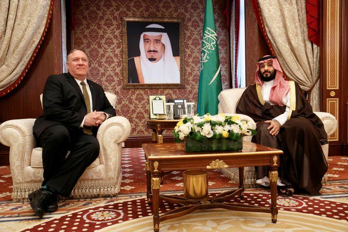 U.S. Secretary of State Mike Pompeo at a meeting with Saudi Crown Prince Mohammed bin Salman in Jeddah, Saudi Arabia, in June