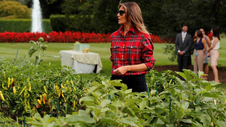 Melania Trump arbeitet in einem Gemüsebeet vor dem Weißen Haus, im Hintergrund der Rosengarten