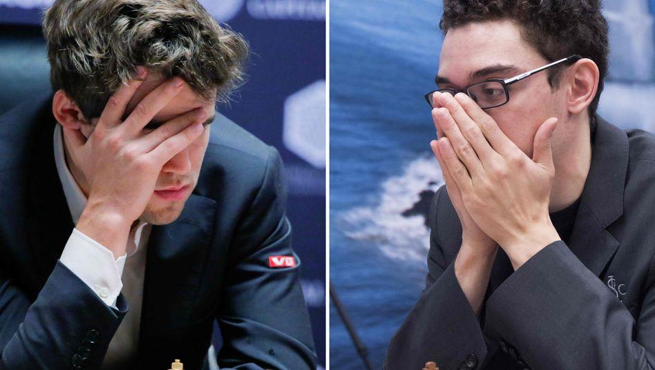 Magnus Carlsen (l.), Fabiano Caruana