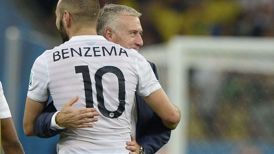 Didier Deschamps (hinten), Karim Benzema