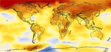 Mittlere globale Temperatur-Anomalien von 2002 bis 2006 (rote Bereiche: plus zwei Grad): Treibhausgase bleiben Jahrtausende in der Luft