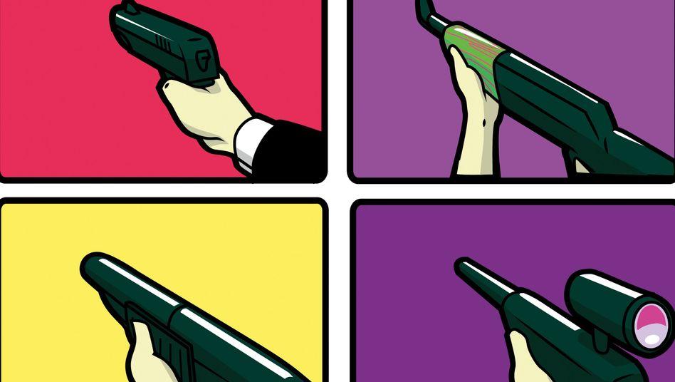 Der Lauf der Waffe im Bild: Das Video des Täters, aus dem wir hier bewusst kein Bild zeigen, erinnert durch die Ich-Perspektive an Shooter