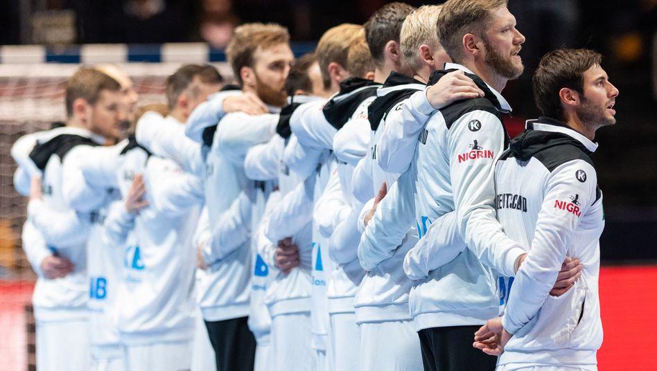 Die deutschen Handballer vor ihrem letzten Gruppenspiel gegen Lettland