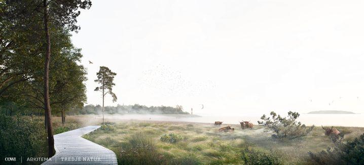 Auf Computerbildern des Projekts steht die Natur im Vordergrund, von den geplanten Gebäuden ist bislang wenig zu sehen