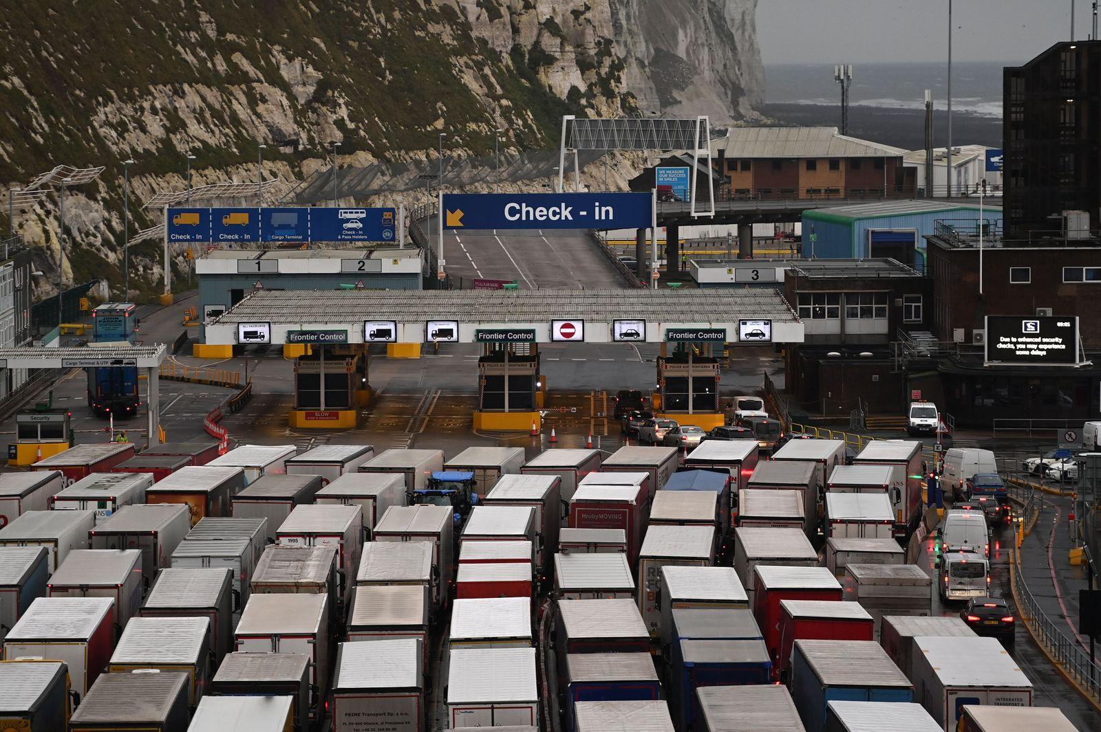 Freight trucks queue up at Dover Port as post-Brexit talks continue, United Kingdom - 19 Dec 2020