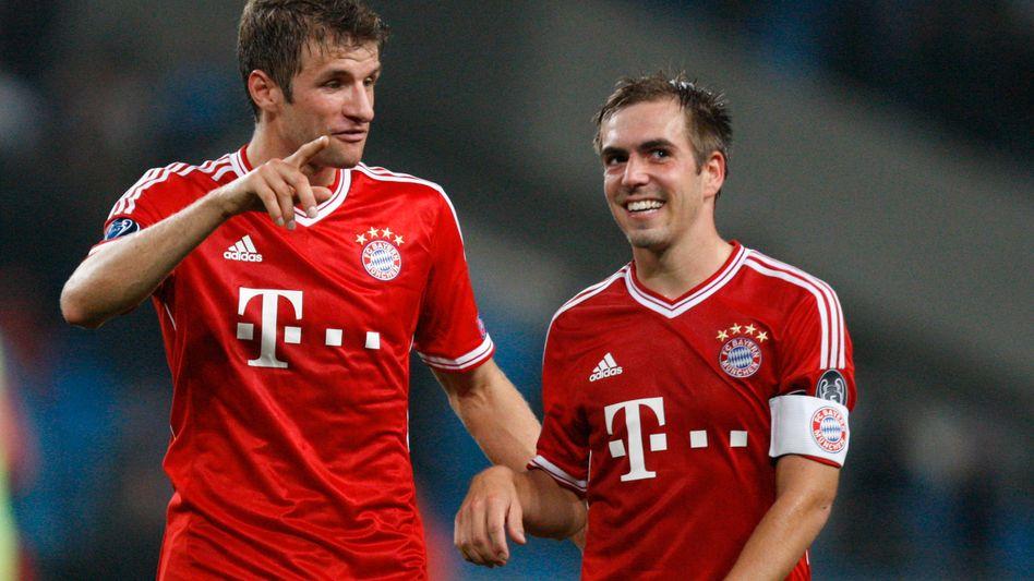 Bayerns Müller und Lahm (r.): Zu 66 Prozent Meister