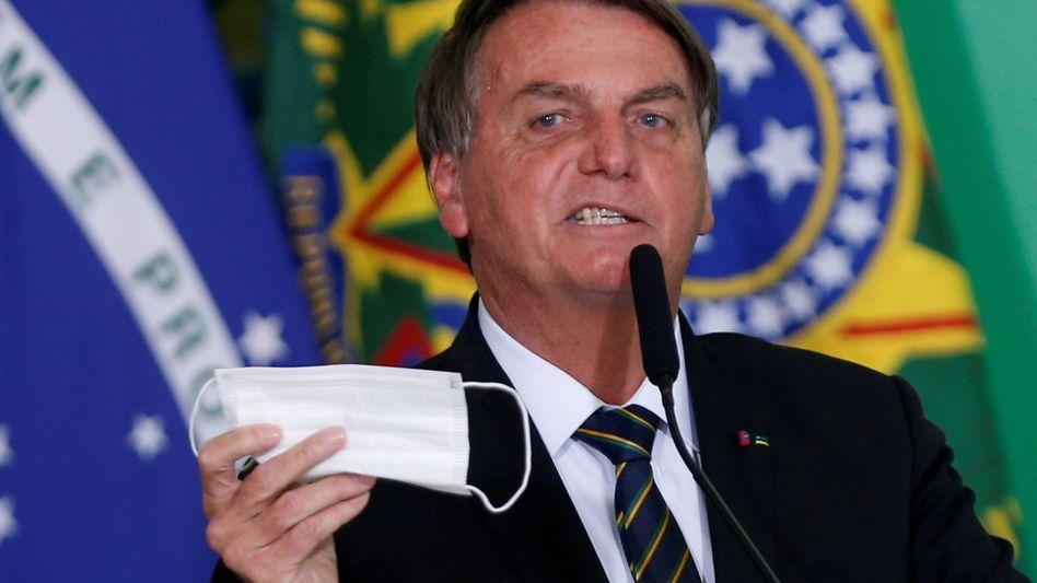 Brasiliens Präsident Jair Bolsonaro: Deckte angeblich Korruption im Gesundheitsministerium