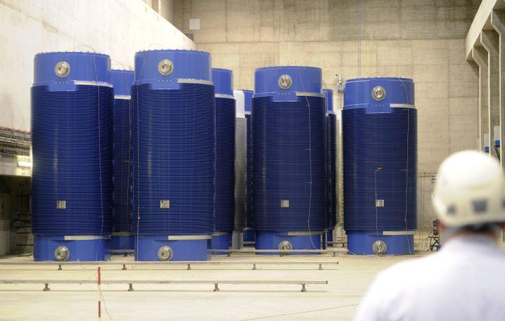 Castor-Behälter am Kernkraftwerk Philippsburg in Baden-Württemberg (Archiv)