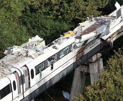 The Transrapid hurtled into a maintenance vehicle on the test track in September 2006.