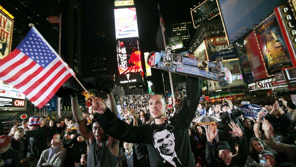 Jubel auf dem New Yorker Times Square in der Wahlnacht 2008