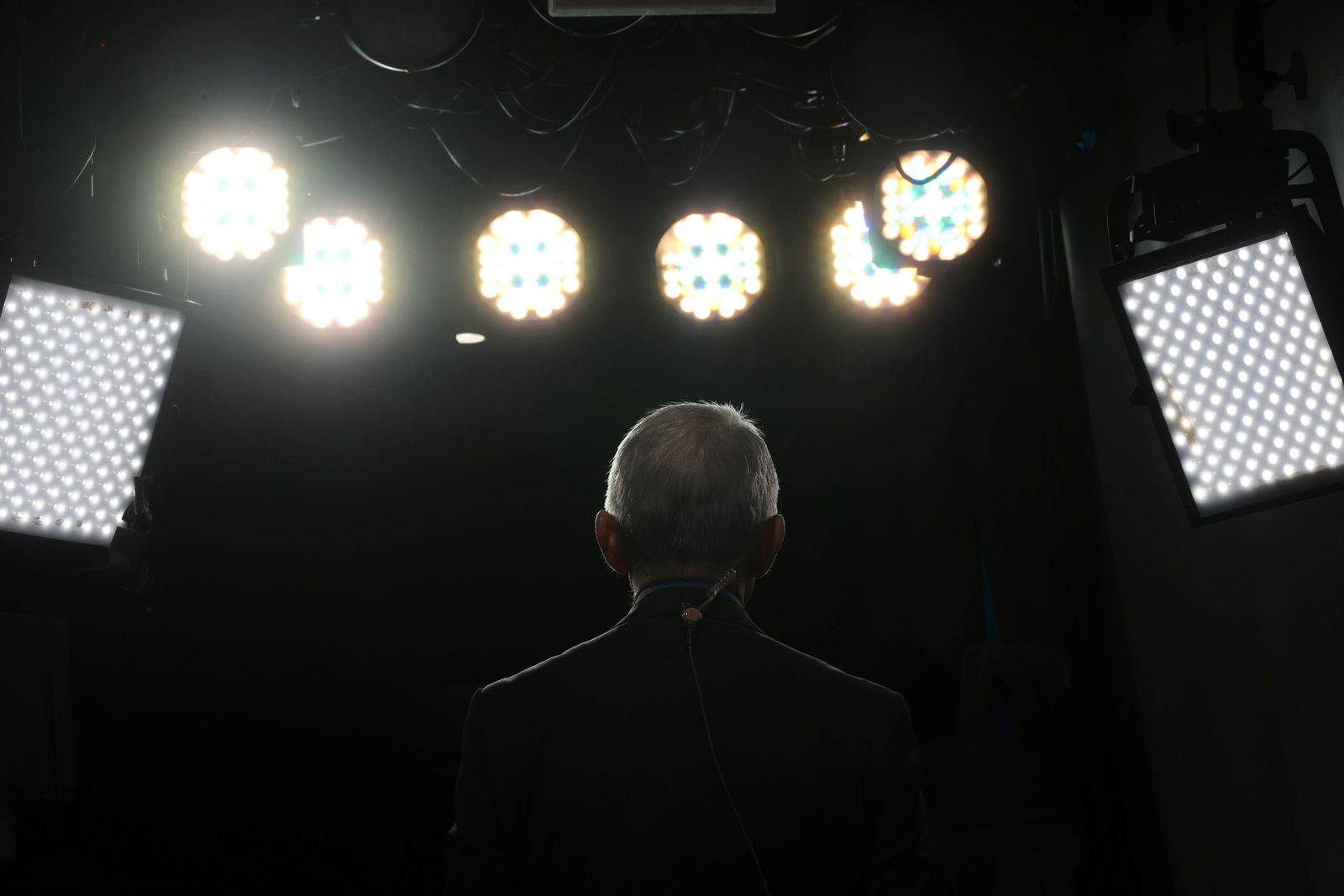NIH?s Fauci gives television interviews about the Trump administration?s response to the coronavirus outbreak, at the White House in Washington