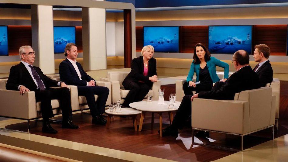 Anne Will mit ihren Talkshow-Gästen: Debatte um die Bargeldobergrenze