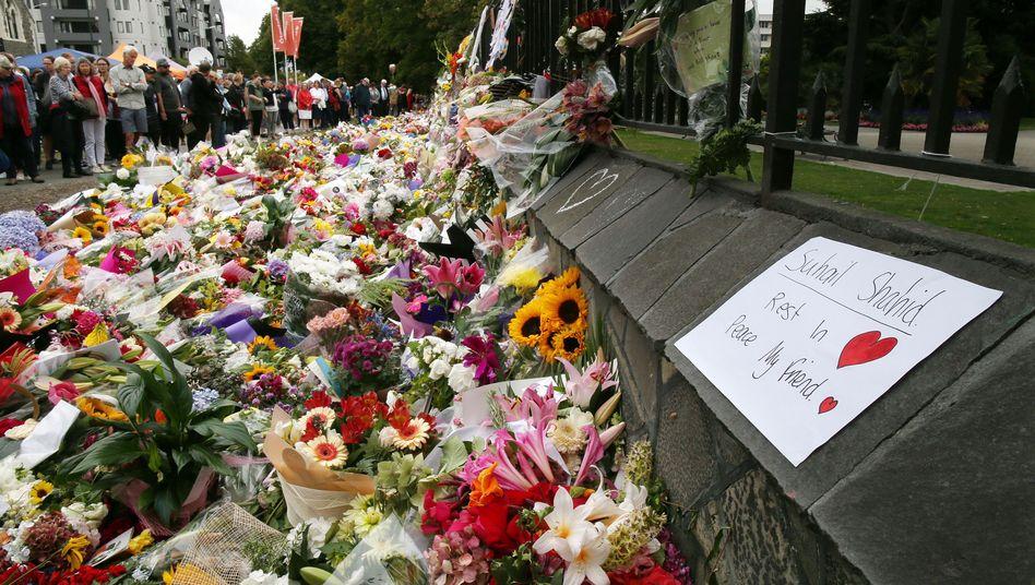 Gedenkstätte in Christchurch für die Opfer des Attentats
