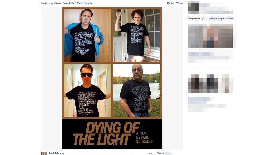 Kein böses Wort: Nicolas Cage, Anton Yelchin, Nicolas Winding Refn und Paul Schrader protestieren stumm (Screenshot von Facebook)