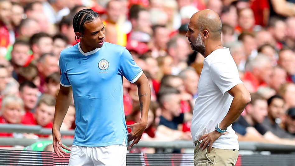 """""""Wir haben keine Probleme miteinander"""": Leroy Sané (l.) und Pep Guardiola"""