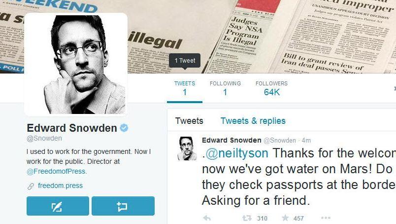 Screenshot von Edward Snowdens Twitter-Account: Jetzt echt mit blauem Häkchen