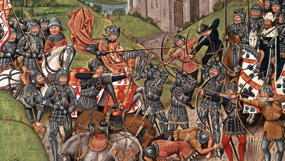 Streit um Land:Im Hundertjährigen Krieg (hier die Schlacht von Azincourt) ging es um Besitzansprüche des englischen Königs in Frankreich.