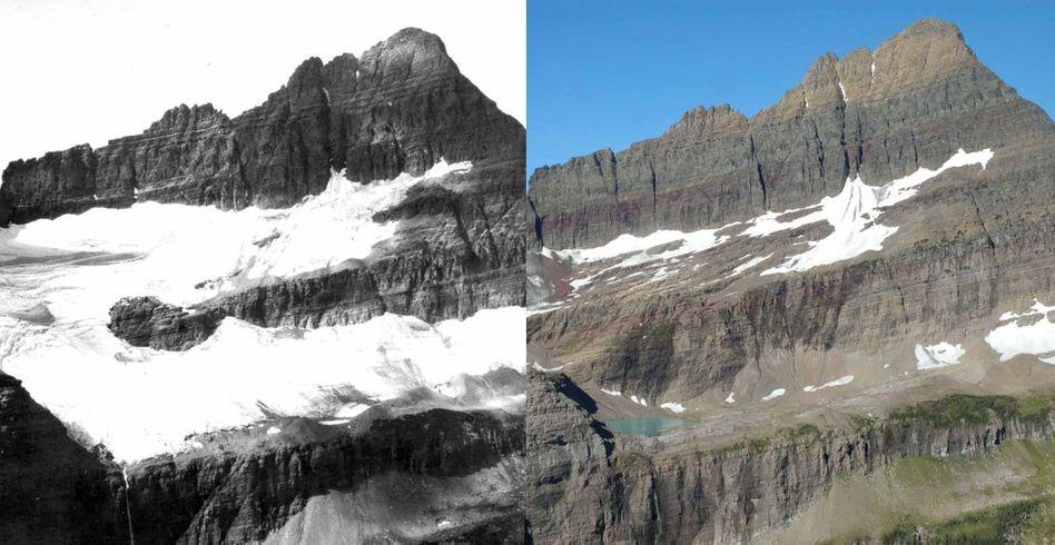 Gletscher Shepard: Vergleichsfotos von 1913 und 2005