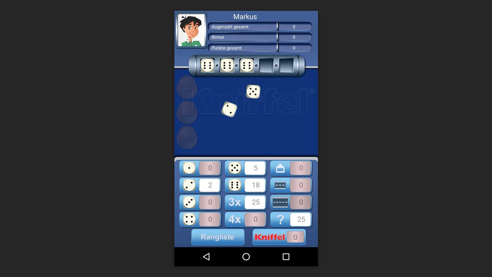EINMALIGE VERWENDUNG Screenshot/ Kniffel App