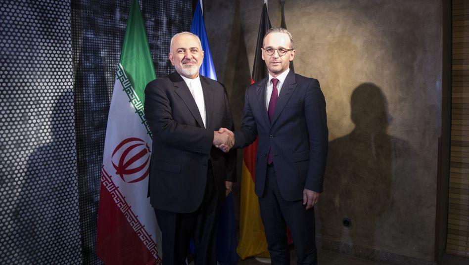 """Irans Außenminister Sarif, deutscher Kollege Maas (auf der Münchener Sicherheitskonferenz im Februar): """"Ausgesprochen ernste Lage"""""""
