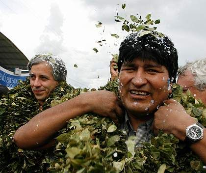 Bolivian President Evo Morales (R) and his vice-president Alvaro Garcia wear wreaths of coca leaves during a visit to the Chapare region about 600 km southeast from La Paz.