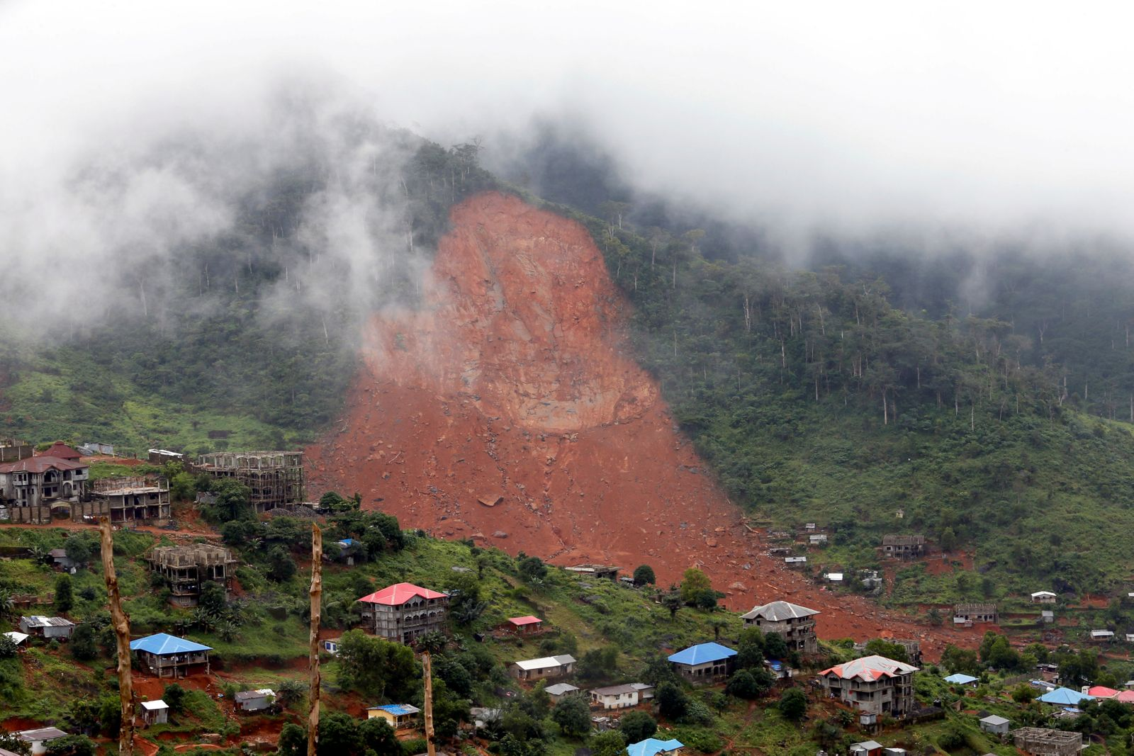 A general view of the mudslide at the mountain town of Regent